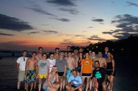 Our team at the beach on our last day in El Salvador. Due to high tide, we couldn't go into the water until evening, but it was worth it when we got to watch the sun go down on the beach.