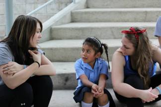 Lauren and I trying out our Spanish with Diana at the CDI. The children are usually pretty patient with us because they know we can't speak Spanish very well.