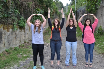 The four OSU students on our team couldn't leave without a couple O-H-I-O pictures. This is at the bottom of the hill that leads up to the center.