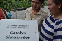 Silvia and Albi by the dedication sign for the playground our team built. The playground was dedicated to Carolyn Shonkwiler, who passed away in 2013 from breast cancer. It was amazing watching the Shonkwiler family work in her honor to bring such such joy to the children at the CDI.