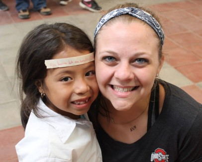 With Rosita, one of our girls in the CDI program. She was learning a memory verse that day, and decided to put it on her forehead!
