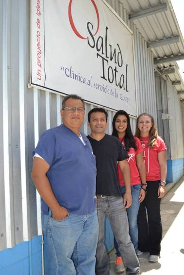 With Dr. Inri, Pastor Victor, and Adriana at the Total Health clinic in Guayabo.