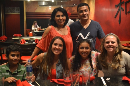 At dinner with Krista (a missionary from Michigan) and our host family, the Turcios. Victor is the lead pastor at the church and his wife Silvia is the director of the CDIs.